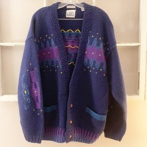 Vintage | Chunky  Handknit Wool Cardigan